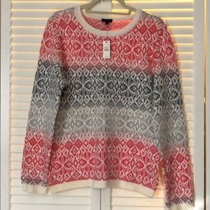 Lovely Talbots large cream pink gray sweater!!